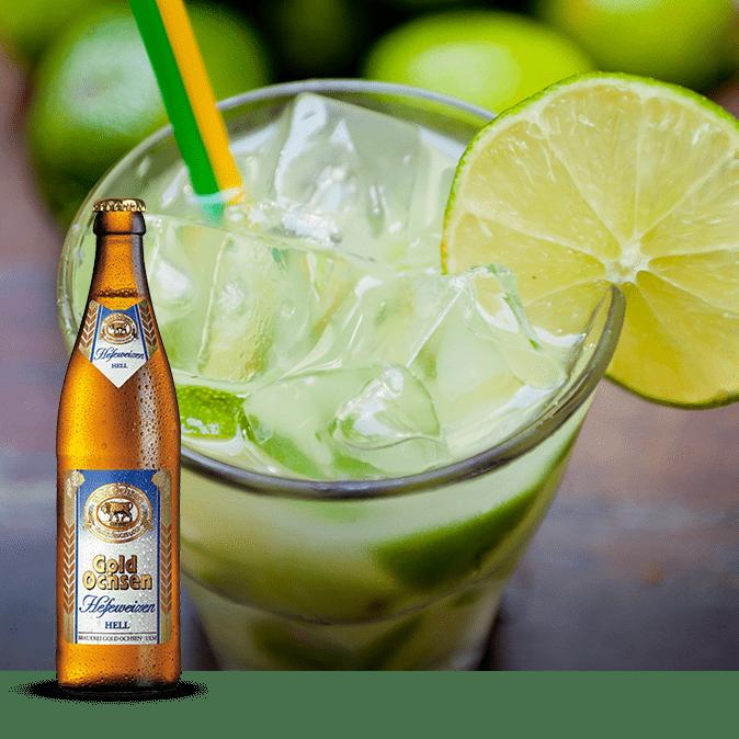 Caibierinha Cocktail mit Gold Ochsen Hefeweizen Hell