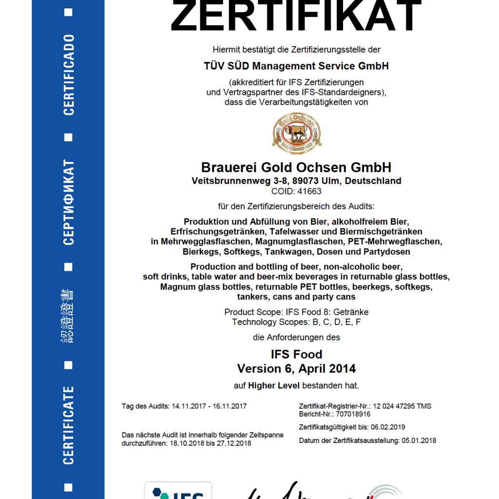 TüV SÜD Zertifikat zur Qualitätssicherung bei der Produktion und Abfüllung von Bier